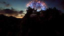Mount Rushmore, 4th of July Fireworks at sunset Animation