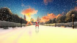 Santa Claus Dancing on a park alley, snowing, winter holidays background Animation