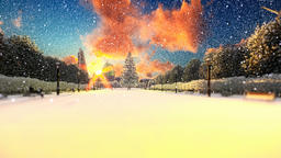 Park alley, winter holidays background Animation