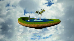 Tropical island with water, palms and woman resting on the beach against timelap Animation