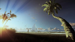 Tropical island, palm trees and yacht sailing, woman running on the beach, morni Animation