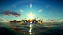 Swans on water with tropical island on the background Videos animados