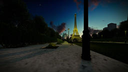 Wonderful view Eiffel Tower in Paris at sunset, dolly camera Animation