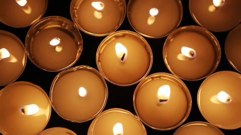 Closeup of candle lights Footage