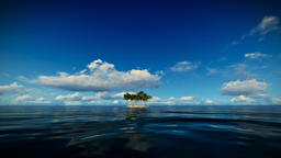 Trpical island isolated by water, seagulls flying, timelapse clouds Animation