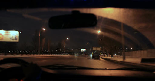 Hyperlapse of night driving from inside of car Footage