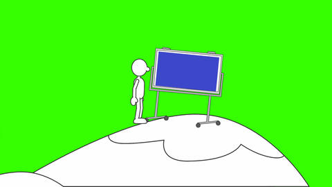 Simply Drawn Man, Pushing Bulletin Board Uphill: Loop + Matte Animation
