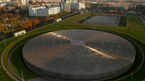 Modern futuristic flat Building architecture, Velodrome Arena in Berlin, Germany Live Action