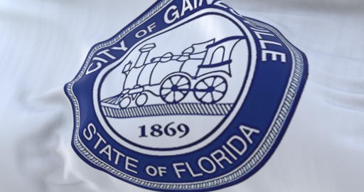Flag of Gainesville city, in the state of Florida, United States, slow - loop Animation