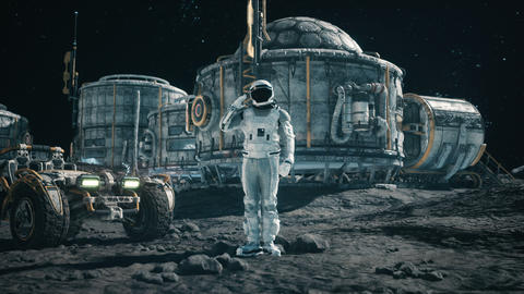 The astronaut researcher salutes against the background of the space base and planetrover. Animation Animation