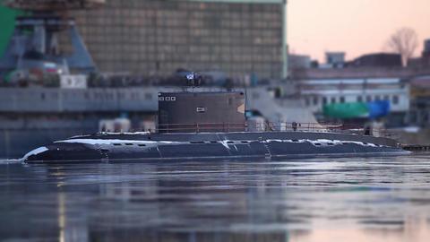 submarine to the pier Footage