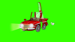 Cartoon Car Parts Assemble: Green Screen + Matte Stock Video Footage