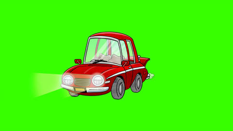 Cartoon Car Parts Assemble: Green Screen + Matte Stock Video Footage