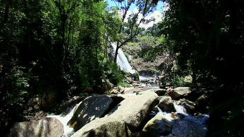 Small Mountain River between Dark Tree Slopes Footage