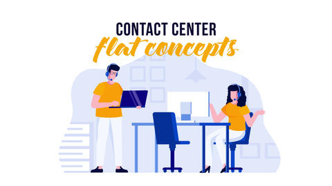 Contact center - Flat Concept After Effects Template