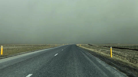 Road disappearing into a volcanic ash cloud Live Action