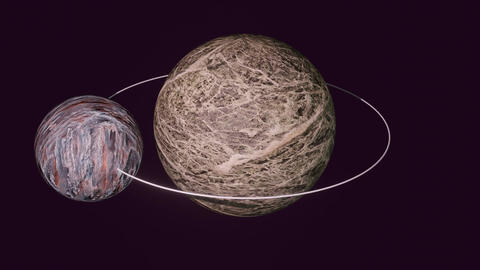 Two fantasy planets, little planet on orbit, big planet rotating, cosmos Animation