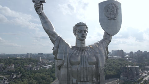 The architecture of Kyiv, Ukraine: Aerial view of the Motherland Monument. Slow Live Action