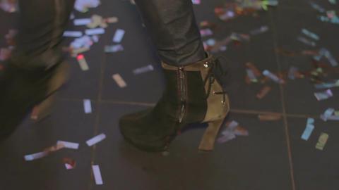 Beautiful woman dancing on the dancefloor in the night club. Enjoyment of life Footage