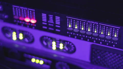 DJ sound equipment. Night club music. Defocused buttons of mixing console Footage