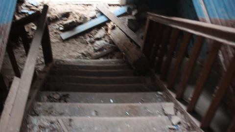 surviving the stairs of the destroyed house Footage