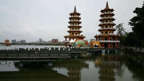 Dragon and Tiger pagodas Footage