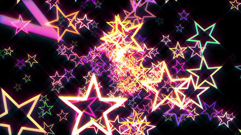 Colorful Disco Retro Stars Burst Psychedelic Motion Background Loop rotate right Animation