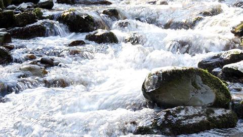 Stream in winter - beautiful mountain stream on sunlight,…, Live Action
