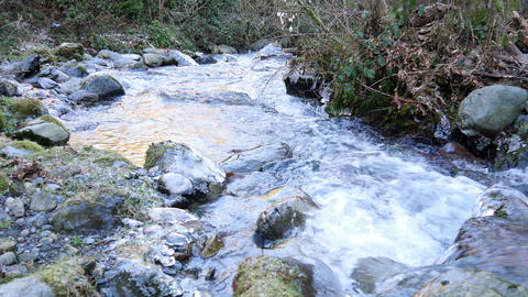 Cold water of mountain stream in winter time, sound Footage