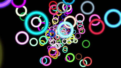 Vibrant Colorful Rings Particles Disco Burst VJ Motion Background Loop Rotate Ri Animation