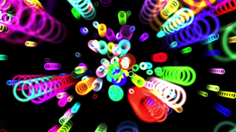 Vibrant Colorful Rings Particles Disco Burst VJ Motion Background Loop 4 Animation