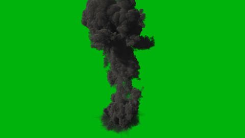 Nuclear explosion with lots of black smoke. A huge explosion with thick smoke. Explosion with smoke, Animation