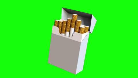 Cigarette pack isolated - harm of tobacco concept, loopable Animation