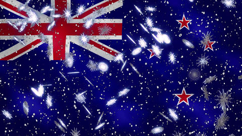 New Zealand waving flag and snowfall cyclic background for Christmas and New Animation