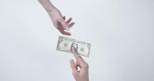 Giving one dollar to another person Live Action