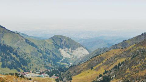 Panorama of the pass Shymbulak, Almaty, Kazakhstan Footage