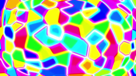 Polygon Cells Colorful Random Particle Psychedelic VJ Motion Background Loop Animation
