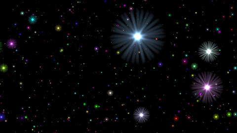Multicolored Stars Flight Cosmos Abstract Motion Background Loop Animation
