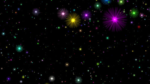 Multicolored Stars Flight Cosmos Abstract Motion Background Loop Rotate Right Animation