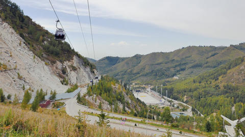 Almaty, Kazakhstan - August 30, 2016: Ice skating rink Medeo and funicular from  Footage
