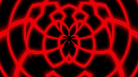 Red Glowing Symmetry Curves Lines Abstract Pattern VJ Motion Background Loop Animation