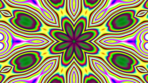 Detailed Psychedelic Retro 60s Kaleidoscope VJ Motion Background Loop 2 Animation