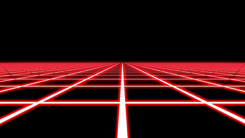 Infinite Flight Over Red Neon Square Grid Abstract Motion Background Loop Glitch Animation