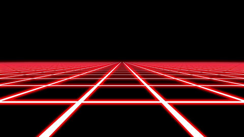 Infinite Flight Over Red Neon Square Grid Abstract VJ Motion Background Loop 2 Animation