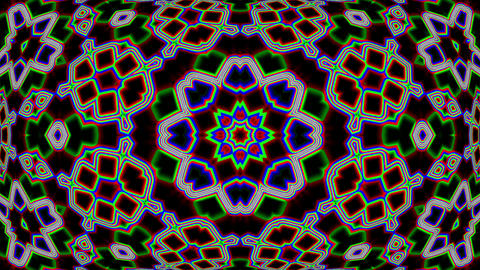 Dark Colorful Neon Ornate Psychedelic Kaleidoscope Motion Background Loop 2 Animation