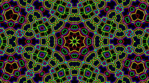 Dark Colorful Neon Ornate Psychedelic Kaleidoscope Motion Background Loop 3 Animation