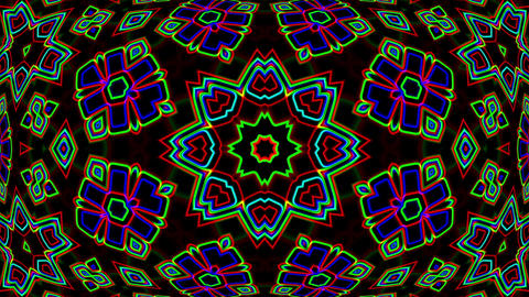 Dark Colorful Neon Ornate Psychedelic Kaleidoscope Motion Background Loop 4 Animation