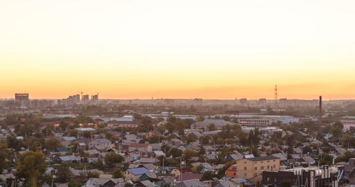Sunset over the city of Karaganda. Kazakhstan. TimeLapse Footage