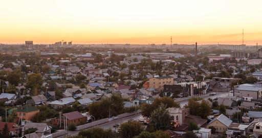 Sunset over the city of Karaganda. Kazakhstan. Time Lapse Footage
