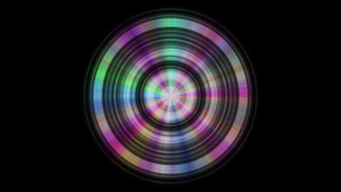 Metal disc with color reflections, seamless loop GIF